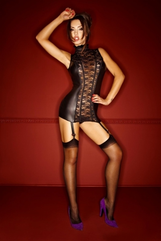 (F093) Wetlook dress with lace and lacing at the back