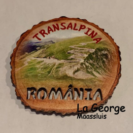 Magnet frigider lemn - Transalpina  6,5 X 7 cm