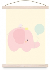 poster olifantje roze