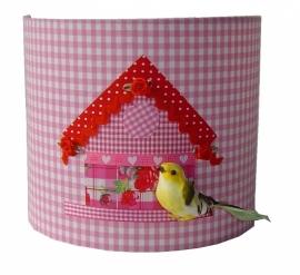 Wandlamp vogelhuisje licht roze