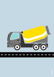 poster  cementwagen geel