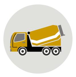 behangcirkel cementwagen oker
