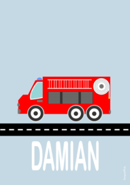 Poster brandweerwagen met naam