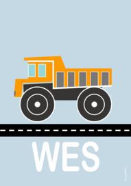 Poster kiepwagen met naam