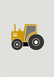 poster voertuig tractor oker