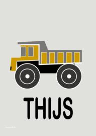 Poster kiepwagen oker met naam