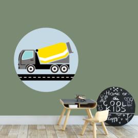 behangcirkel cementwagen geel