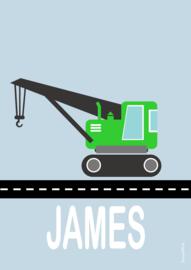 Poster kraanwagen met naam