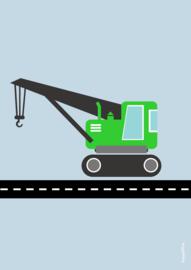 poster  kraanwagen groen