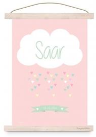 Poster wolk  met naam roze