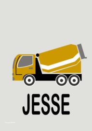 Poster cementwagen oker met naam