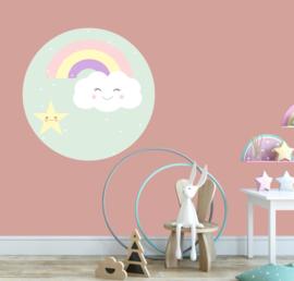 behangcirkel wolk met regenboog pastel