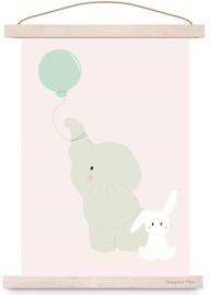 Poster konijn met  olifant