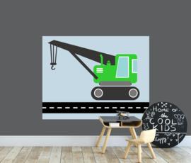 behangpaneel kraanwagen groen 180 x 140 cm