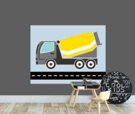 behangpaneel cementwagen geel 180 x 140 cm