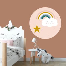 behangcirkel wolk met regenboog