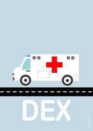 Poster ambulance met naam