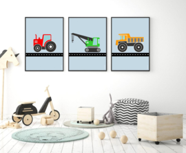 poster  tractor rood