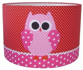 Kinderlamp uil pink