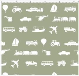 Kinderbehang diverse voertuigen army green