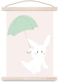 Poster konijn met paraplu
