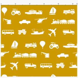 Kinderbehang diverse voertuigen oker