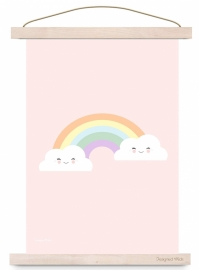 Poster cloud & rainbow pink