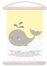 Poster walvis met naam