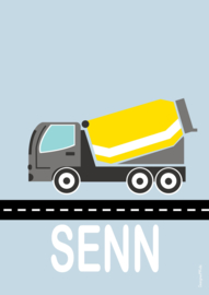Poster cementwagen met naam