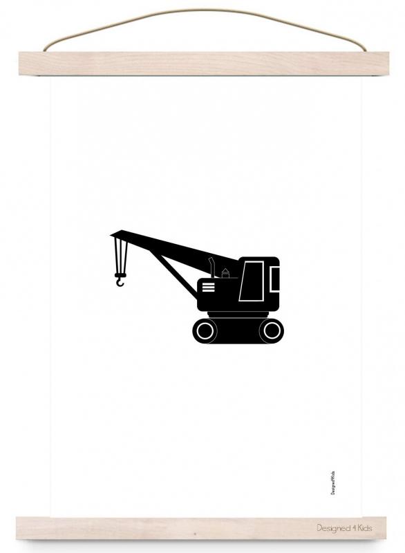 Poster monochrome kraanwagen