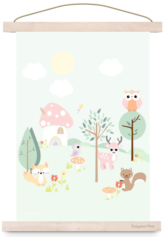 Poster Forest Friends Pastel A3