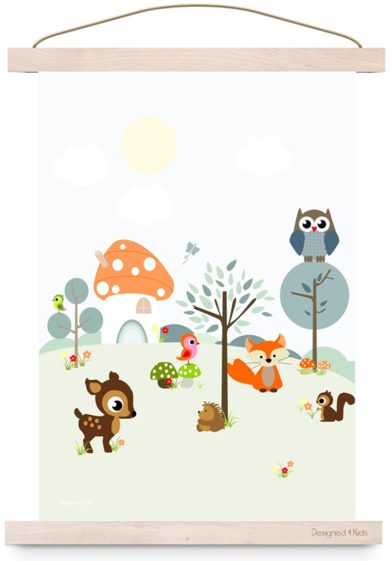 Poster Forest Friends blue A3