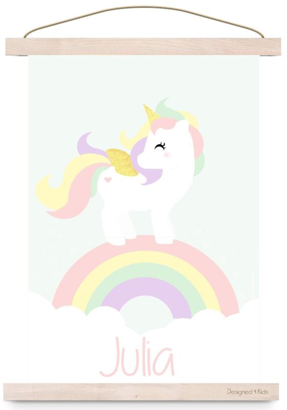 Poster unicorn met naam roze of mintgroen