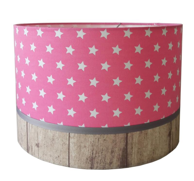 kinderlamp stars roze & wood