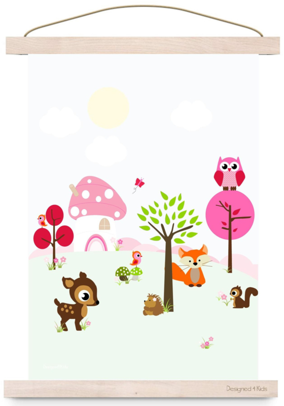 Poster Forest Friends Pink A3