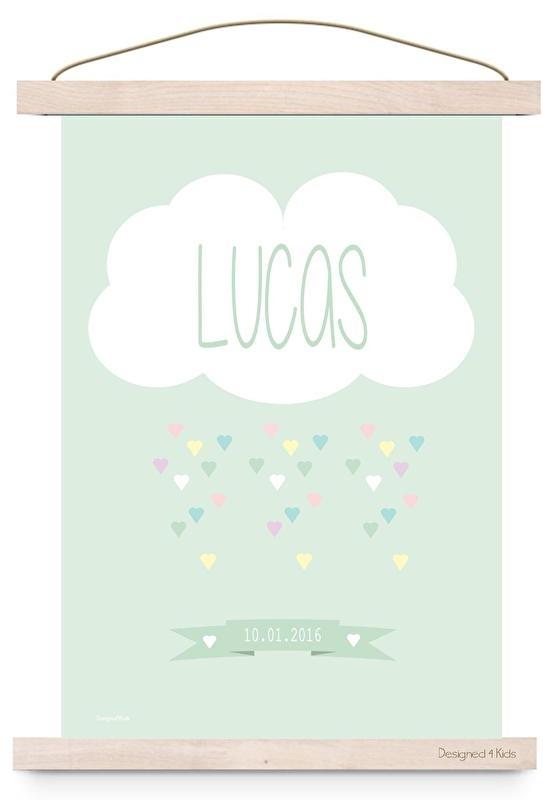 Poster wolk  met naam mint