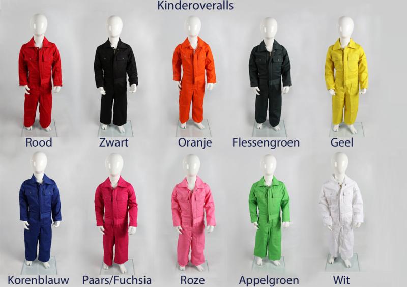 Kinderoverall rood, wit, geel, marineblauw, kobaltblauw, appelgroen, roze, oranje en zwart