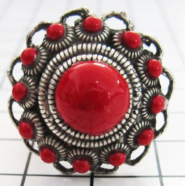 ring zeeuwse knop  met rode emaille ZKR303-R