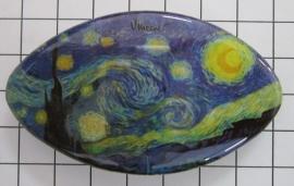 Haarspeld ovaal Klein 6 cm HAK409 Sterrennacht van Gogh