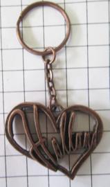 SLE 009 Sleutelhanger Holland letters in hart koperkleur