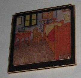 Verguld spiegeldoosje extra zware kwaliteit, messing en verguld,vierkant, reproduktie Vincent van Gogh, kamer