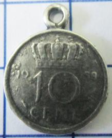 MHB010 5 stuks bedel dubbeltje verzilverd met hangoogje jaartal 1958