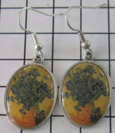 vaas irissen Vincent van Gogh ovale oorbellen verzilverd OOR 302