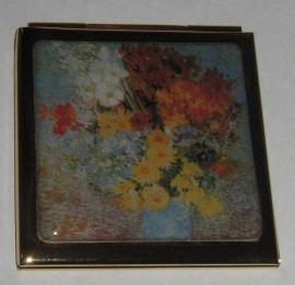 Verguld spiegeldoosje extra zware kwaliteit, messing en verguld, vierkant, Vincent van Gogh, bloemen