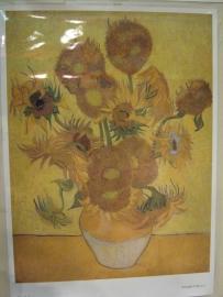 Grote gelamineerde poster zonnebloemen Vincent van Gogh