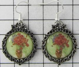 prachtige verzilverde oorbellen  Vincent van Gogh vaas rode bloemen OOR 323