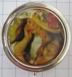 PIL 122 pillendoosje met spiegel twee meisjes met hoed Renoir
