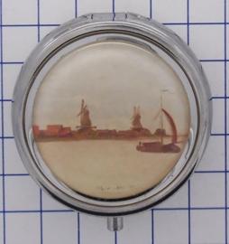 PIL307 pillendoosje met spiegel molens Claude Monet