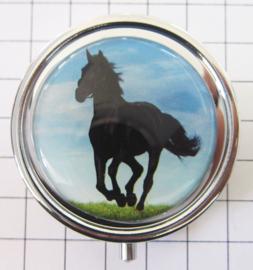 Pillendoosje mooi zwart galoperend paardPIL 393