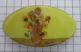 Haarspeld ovaal HAO 401 8 cm zonnebloemen Vincent van Gogh